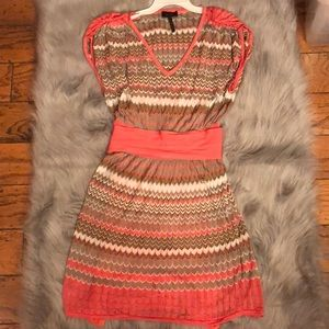 Laundry by Shelli Segal zig zag crochet knit dress